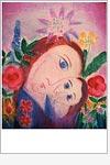 Postkarte Motiv mit Blumen